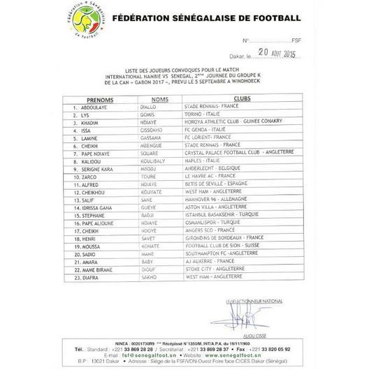 liste parifoot senegal
