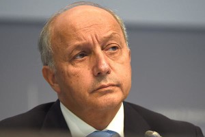 French Foreign Minister Laurent Fabius speaks during the United Nations Framework Convention on Climate Change (UNFCCC) summit in Bonn, western Germany, on October 20, 2015. The convention takes place at the new Bonn conference centrum from October 20 until October 23, 2015. AFP PHOTO / PATRIK STOLLARZ